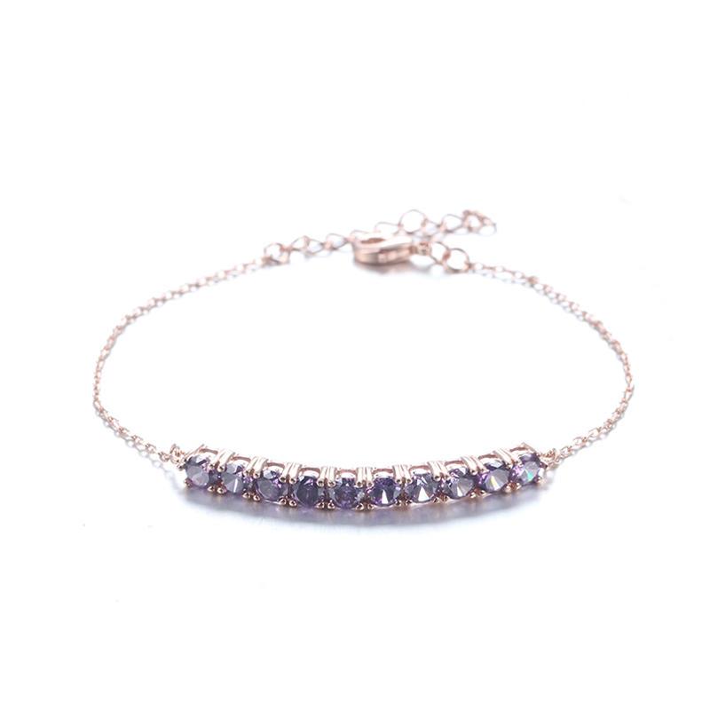925 Sterling Silver Amethyst Symbol Charm Adjustable Bracelet for Women 61816 Kirin Jewelry