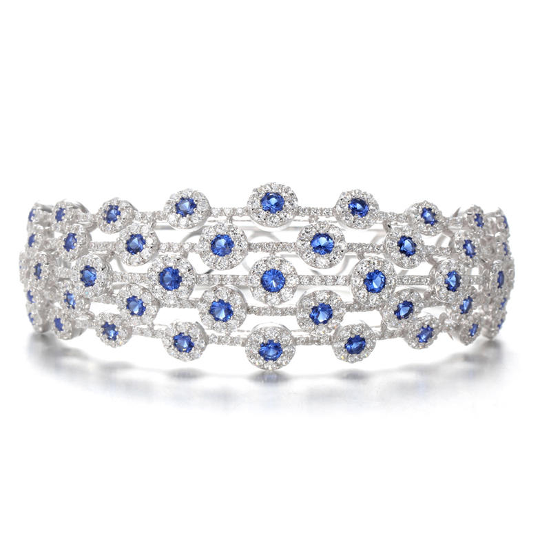 Sapphire Bracelet With White Zircon Accents in Sterling Silver 50714 Kirin Jewelry