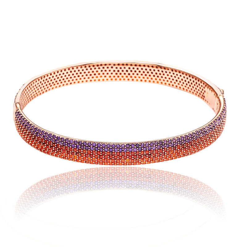 Classical Rose Gold Tone Bangle Multicolor Cubic Zirconia Great Gift For Women Girl 50419 Kirin Jewelry