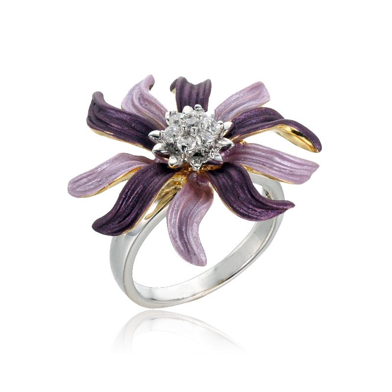 Kirin Jewelry -Sterling Silver Cross Ring, Trendy 925 Sterling Silver Flower Rings