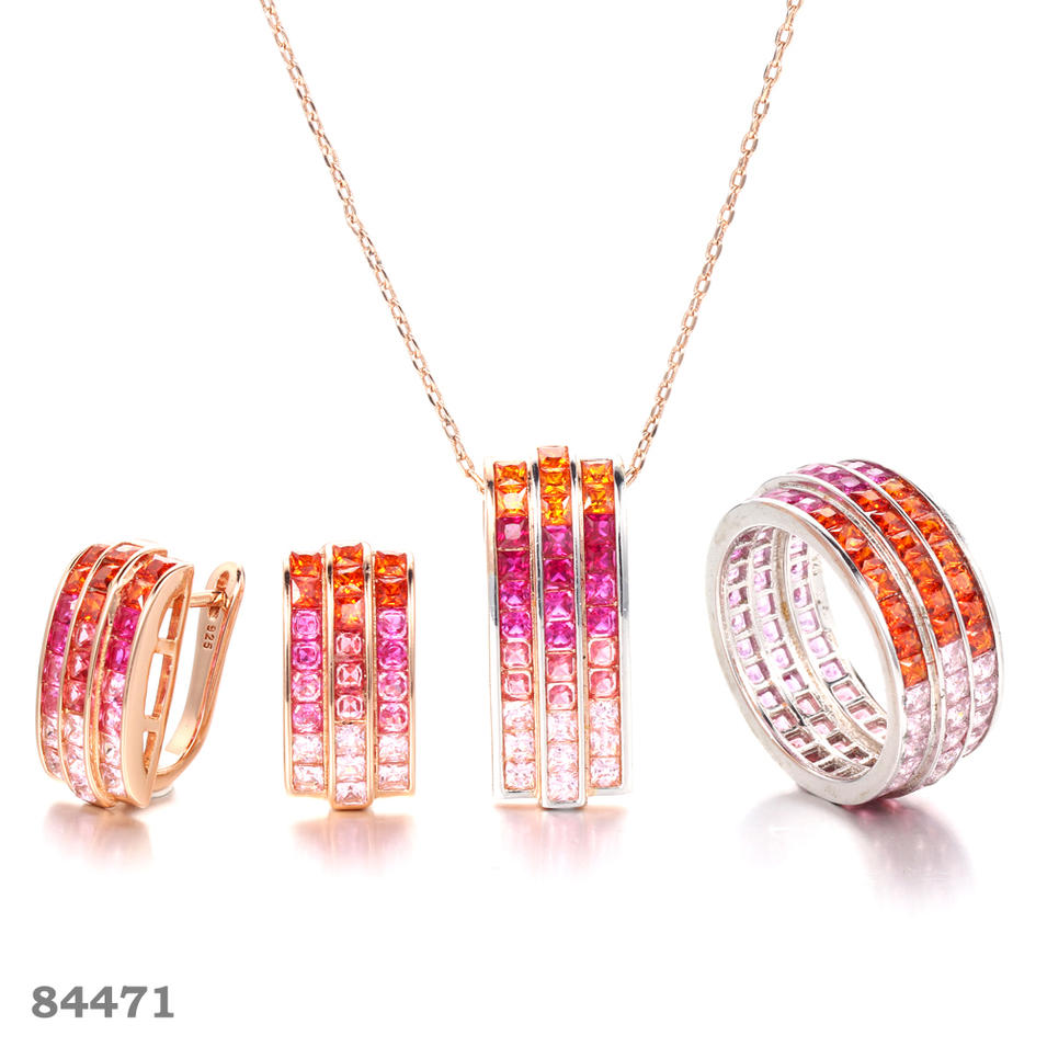 925 silver jewelry set with Rose Gold plated Kirin Jewelry 84471