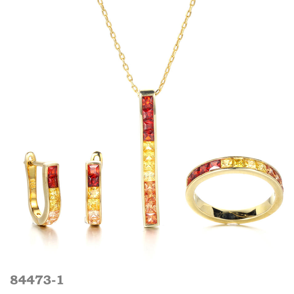 925 silver jewelry set invisible setting jewelry Gold plated Eternity Rings Kirin Jewelry 84473