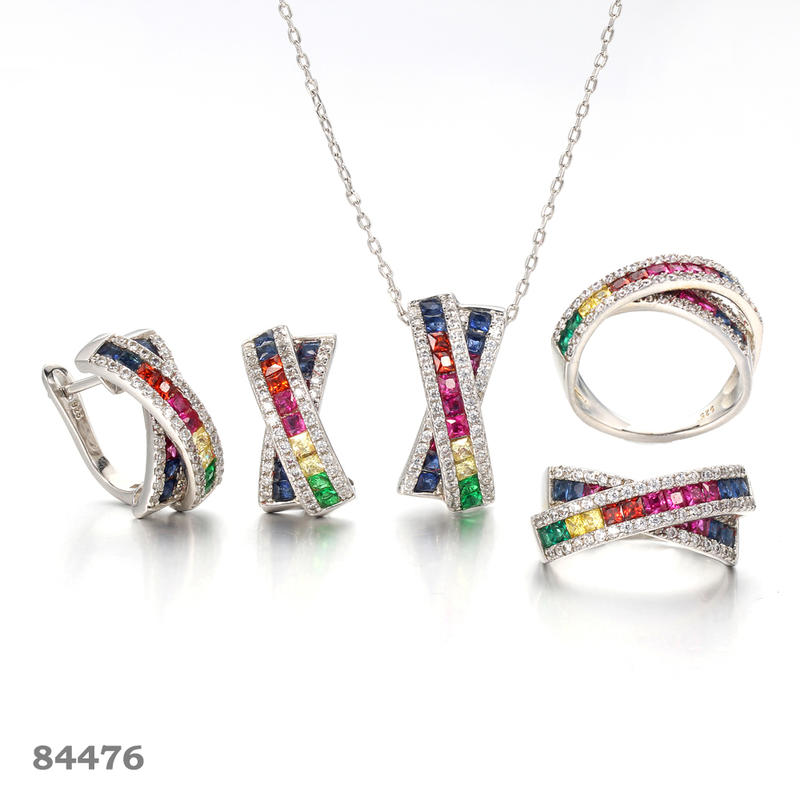 925 silver jewelry set Gold plated cross jewelry set  Kirin Jewelry 100117 84476