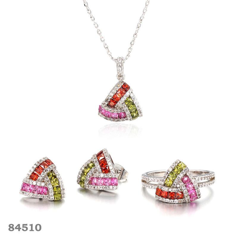 925 silver jewelry set rhodium plated triangle shape jewelry stud earrings Kirin Jewelry 84510