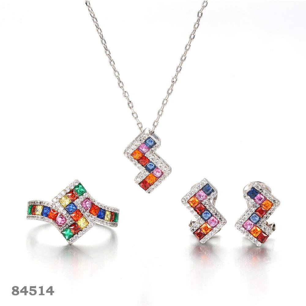 925 silver jewelry set rhodium plated S jewelry fine jewelry Kirin Jewelry 84514