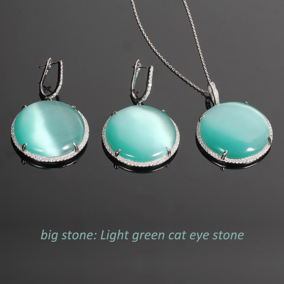 925 silver jewelry set cat eye big stone Kirin Jewelry 33945-1