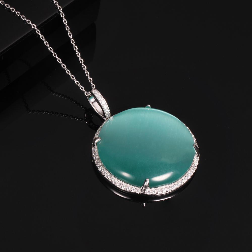925 silver jewelry set cat eye big stone Kirin Jewelry 33945-1