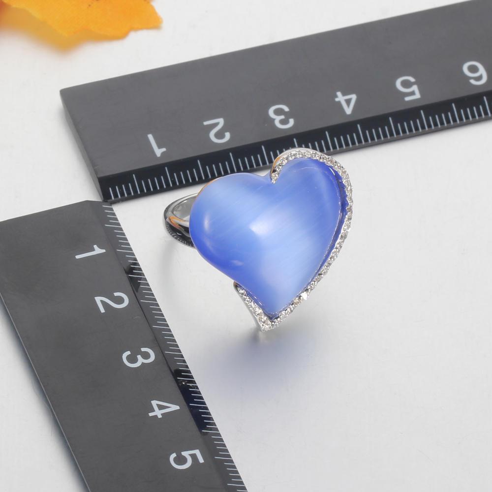 925 silver jewelry set blue cat eye heart shape jewelry for women Kirin Jewelry 22619