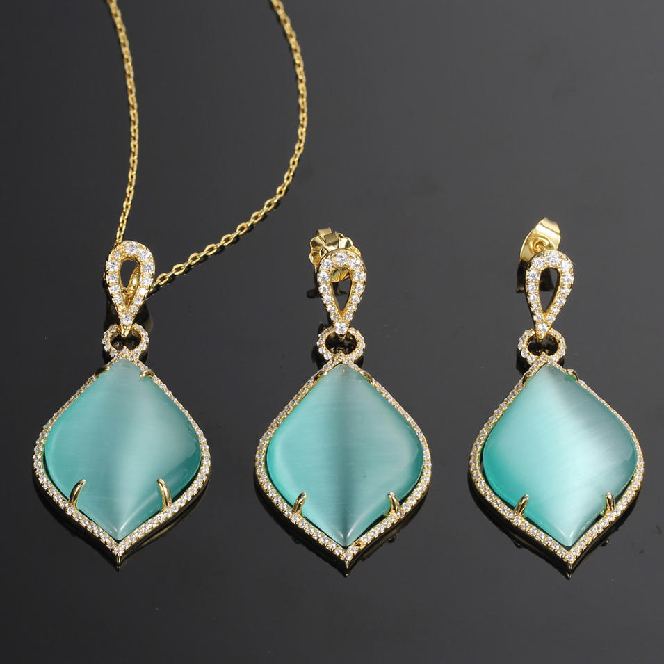 925 silver jewelry set gold plated earrings pendants light cat eye big stone Kirin Jewelry 81343