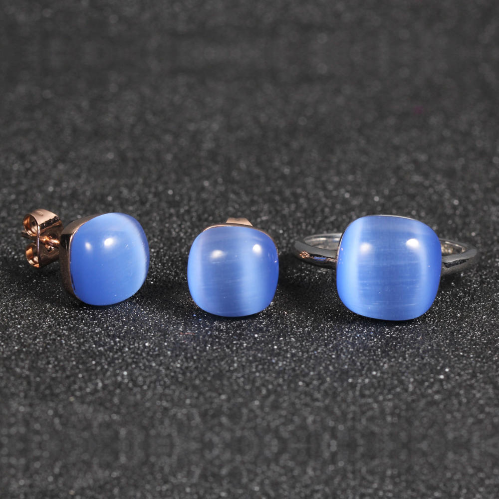 925 silver jewellery set blue cat eye stone earrings rings for women kirin jewelry 81386