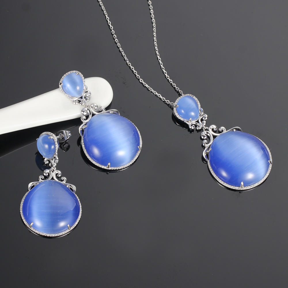 925 silver jewelry set cat eye stone flower jewelry pendant earrings kirin jewelry 82569