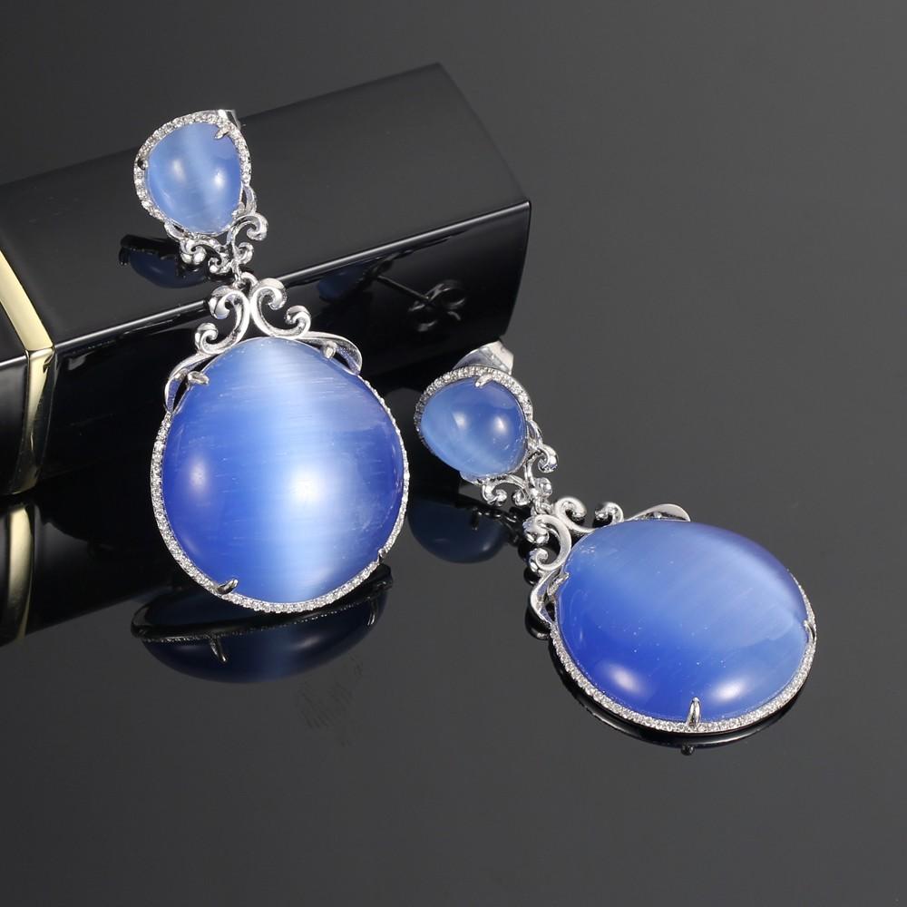 Kirin Jewelry -Find Unique Silver Jewellery 925 Silver Jewelry Set Cat Eye Stone