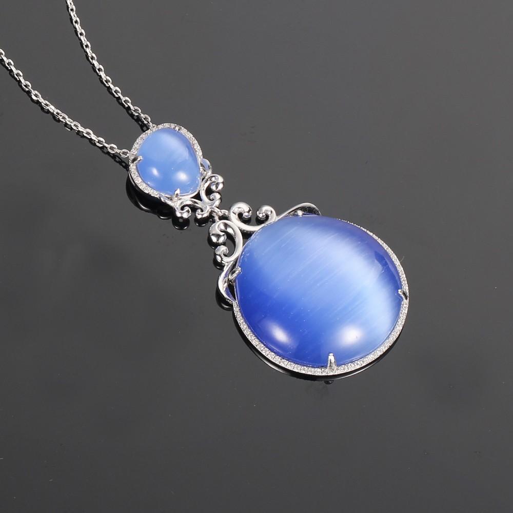 Kirin Jewelry -Find Unique Silver Jewellery 925 Silver Jewelry Set Cat Eye Stone-1