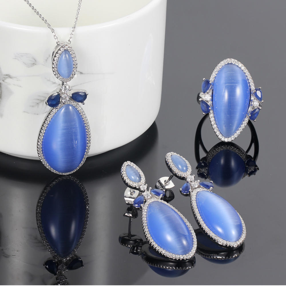 925 silver jewelry set blue cat eye jewelry rings pendants earrings for women 83207