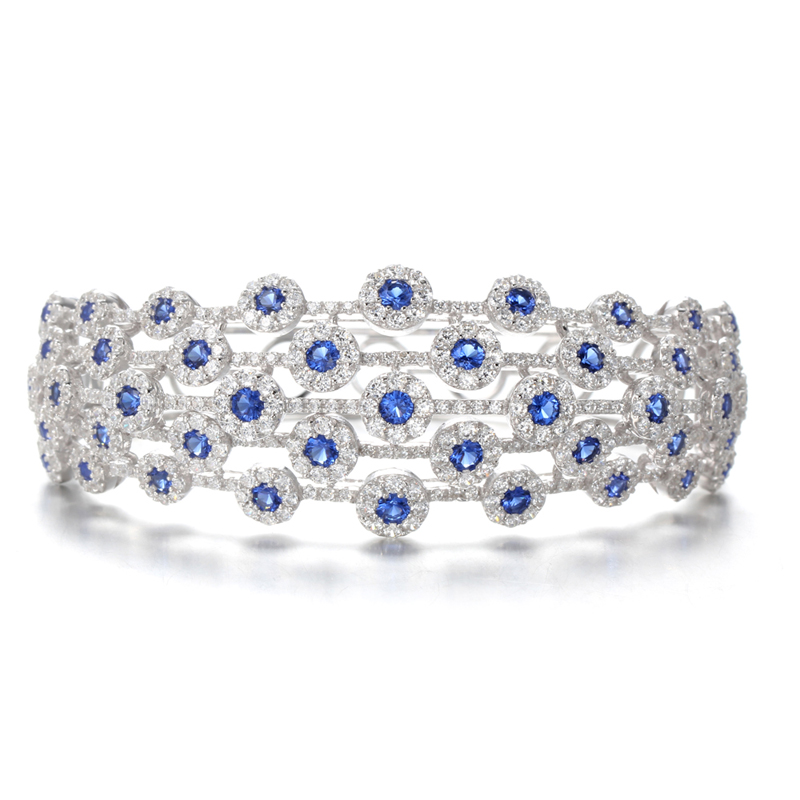 Kirin Jewelry -Silver Bracelets For Women Sapphire Bracelet With White Zircon