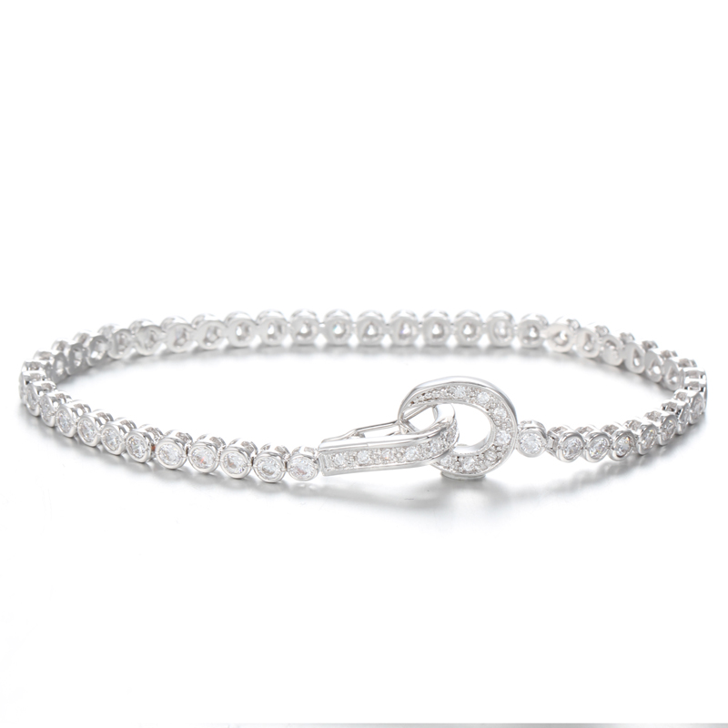 Kirin Jewelry -925 Sterling Silver Bangles, 925 Sterling Silver Infinity Ol Link Cubic