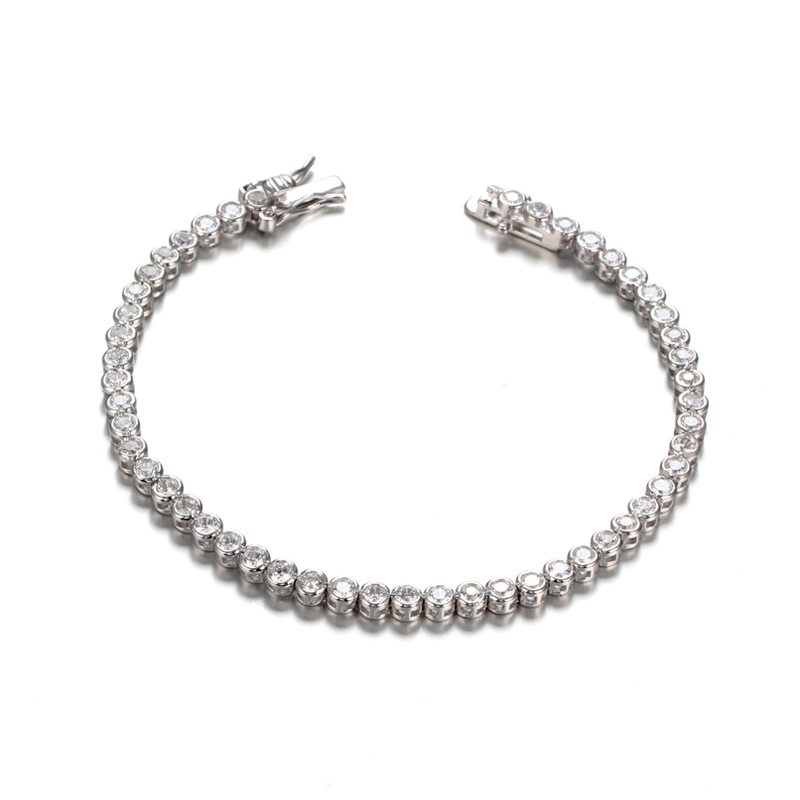 Kirin Jewelry -Pure Silver Bracelet, Ladies Cubic Zirconia Tennis Bracelets Clear