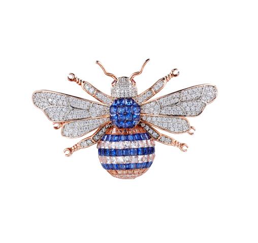 Kirin Jewelry -Silver Brooches Manufacture | Rose Gold Tone Big Honeybee