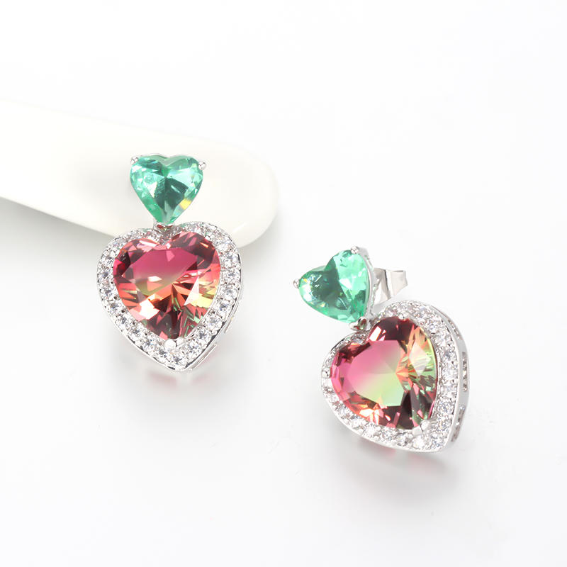 Wholesale Heart Cut 925 Sterling Silver Stud CZ Earrings Wedding Jewelry Gift 85245