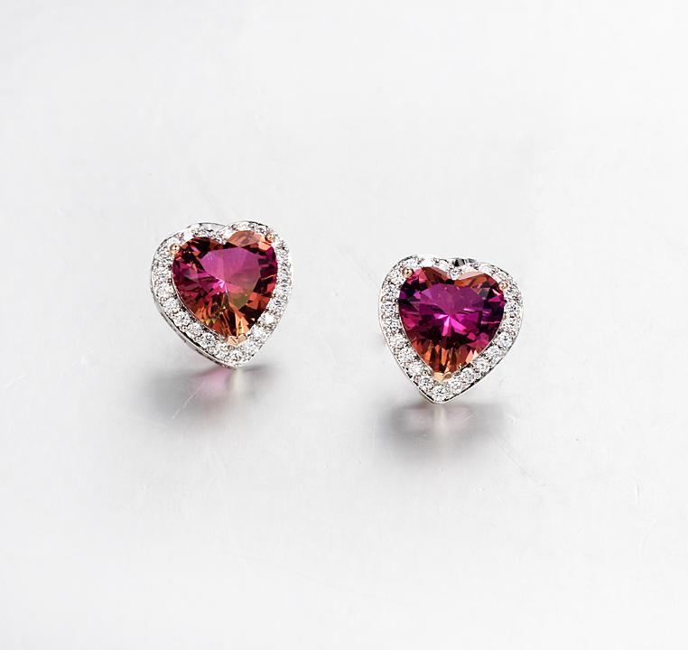 925 Sterling Silver Heart Cut Stud Earring Women's Wedding Bridal Engagement Earrings Jewelry 39035