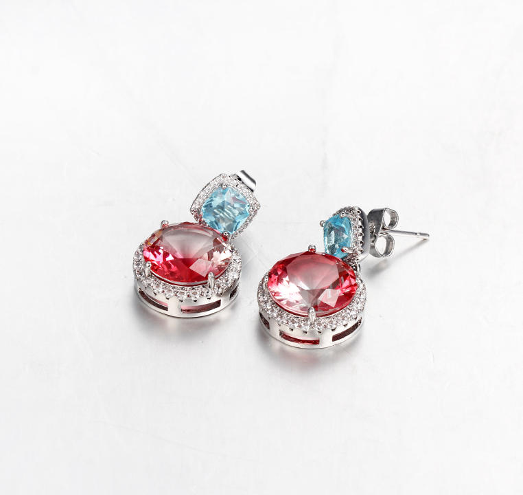 Classic 925 Sterling Silver Cushion Cut Cubic Zirconia Women Earrings Jewelry 39047