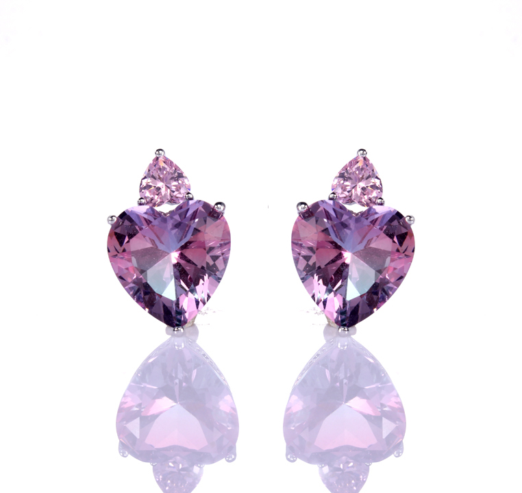 Kirin Jewelry -High-quality Heart Earrings | Wholesale 925 Sterling Silver Zircon Heart