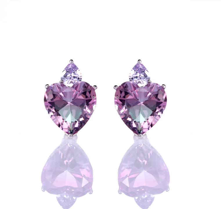 Kirin Jewelry -High-quality Heart Earrings | Wholesale 925 Sterling Silver Zircon Heart-1