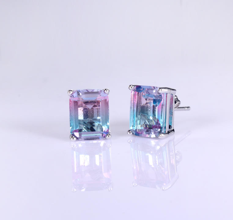Wholesale 925 Sterling Silver Princess Cut Stud Earrings Women's Jewelry 84379