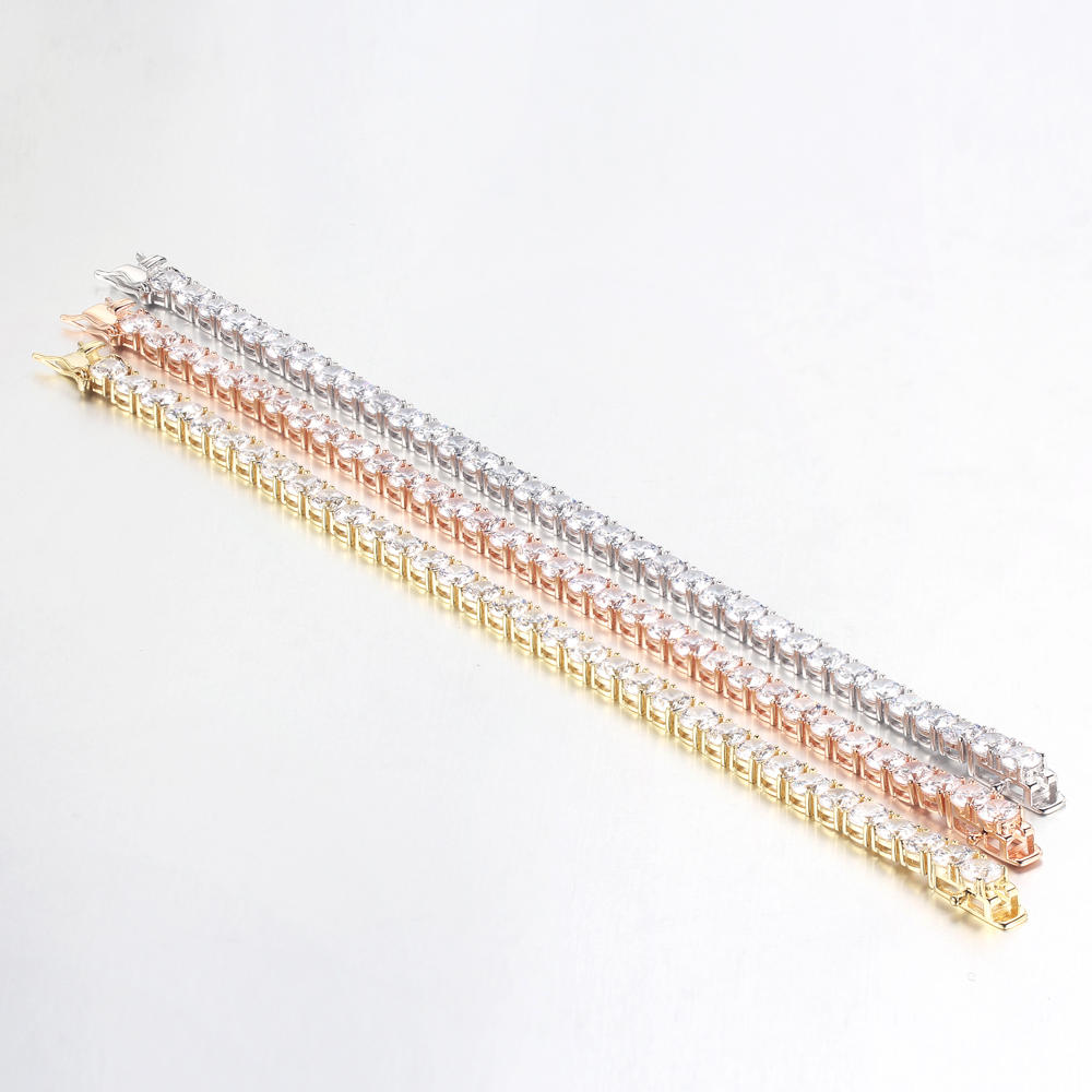 925 Sterling Silver Cubic Zirconia Bracelet Women Charm Jewelry 62202
