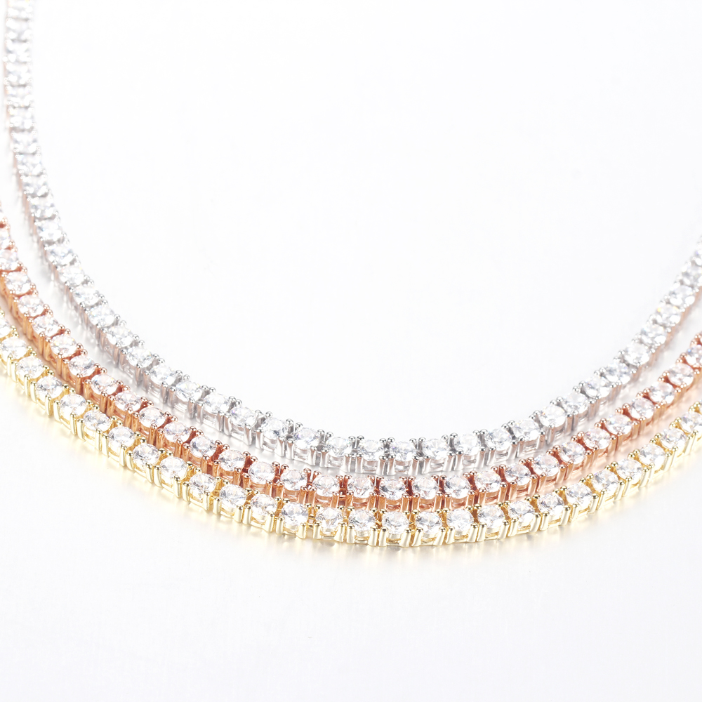 925 Sterling Silver CZ Cubic Zirconia Choker Necklace Tennis Chain Jewellery 70138-Kirin-img-1