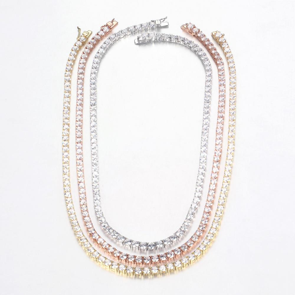 Women 925 Sterling Silver Cubic Zirconia Choker Bib Wedding Chain Necklace Jewelry 71113