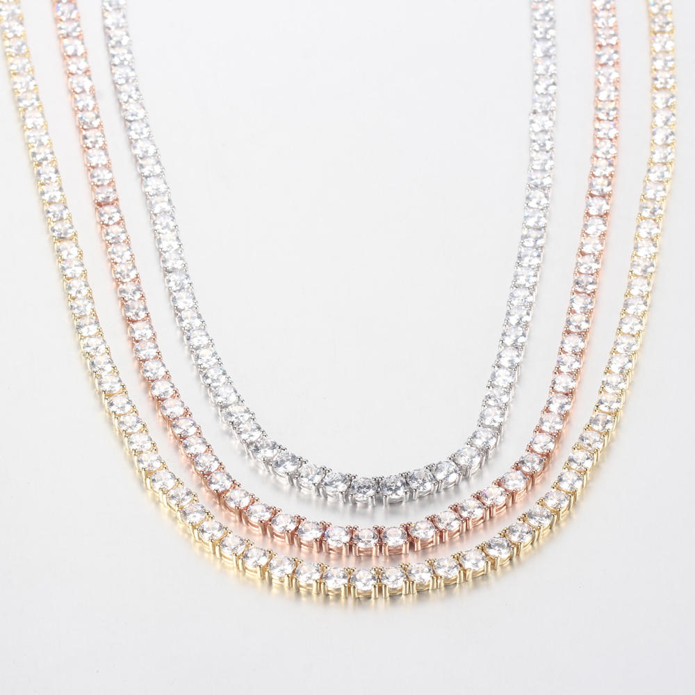 Wholesale Womens Girls 925 Sterling Silver Cubic Zirconia Chain Necklace Gifts Jewelry 71375