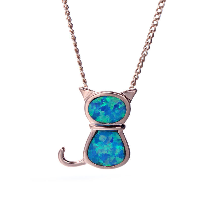 Women Fashion 925 Sterling Silver Blue Opal Pendant Necklace Jewelry 27087