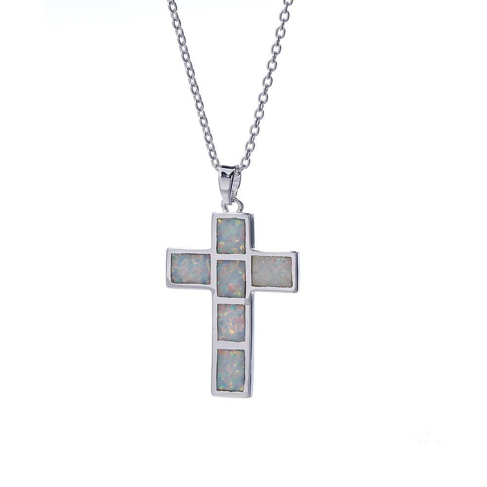 Women Luxury 925 Sterling Silver Opal Pendant Necklace Jewelry Gifts 27091