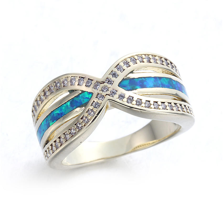 Wholesale Jewelry 925 Sterling Silver Blue Opal Gems Ring Wedding Party Jewelry Sz5-11 103542