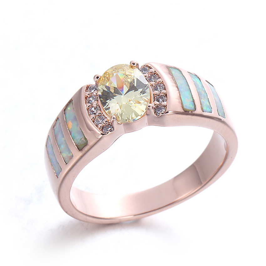 Kirin Jewelry -Authentic Opal Gemstone 925 Sterling Silver Ring Jewelry For Women