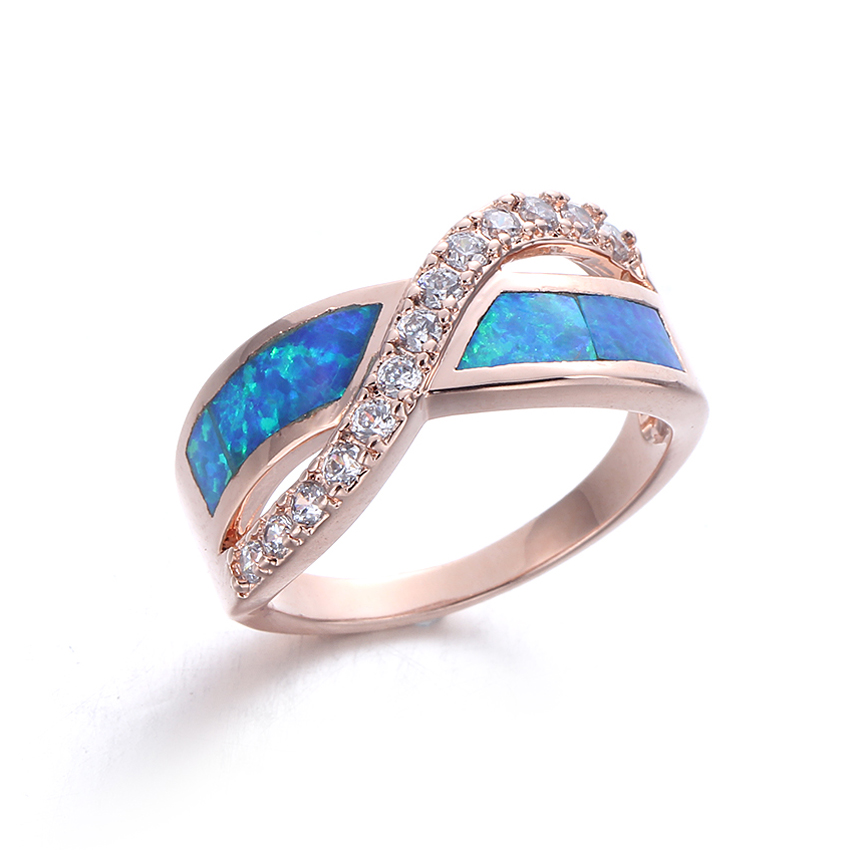 Kirin Jewelry -Find Pretty Sterling Silver Rings Women Fashion Blue Opal