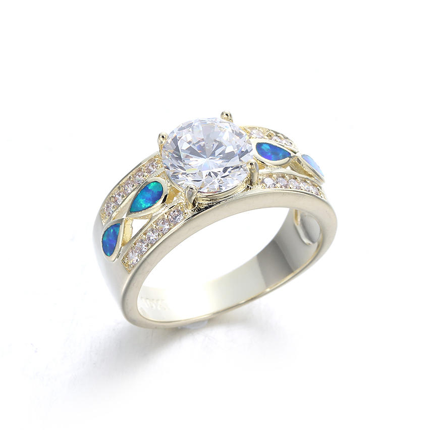 Wholesale Women 925 Sterling Silver Opal Rings Wedding Promise Ring Jewelry 103547