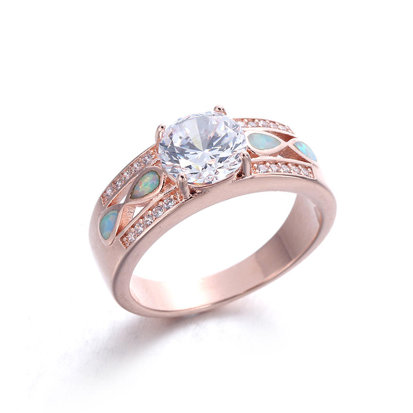 Wholesale Women 925 Sterling Silver Opal Rings Wedding Promise Ring Jewelry 103547
