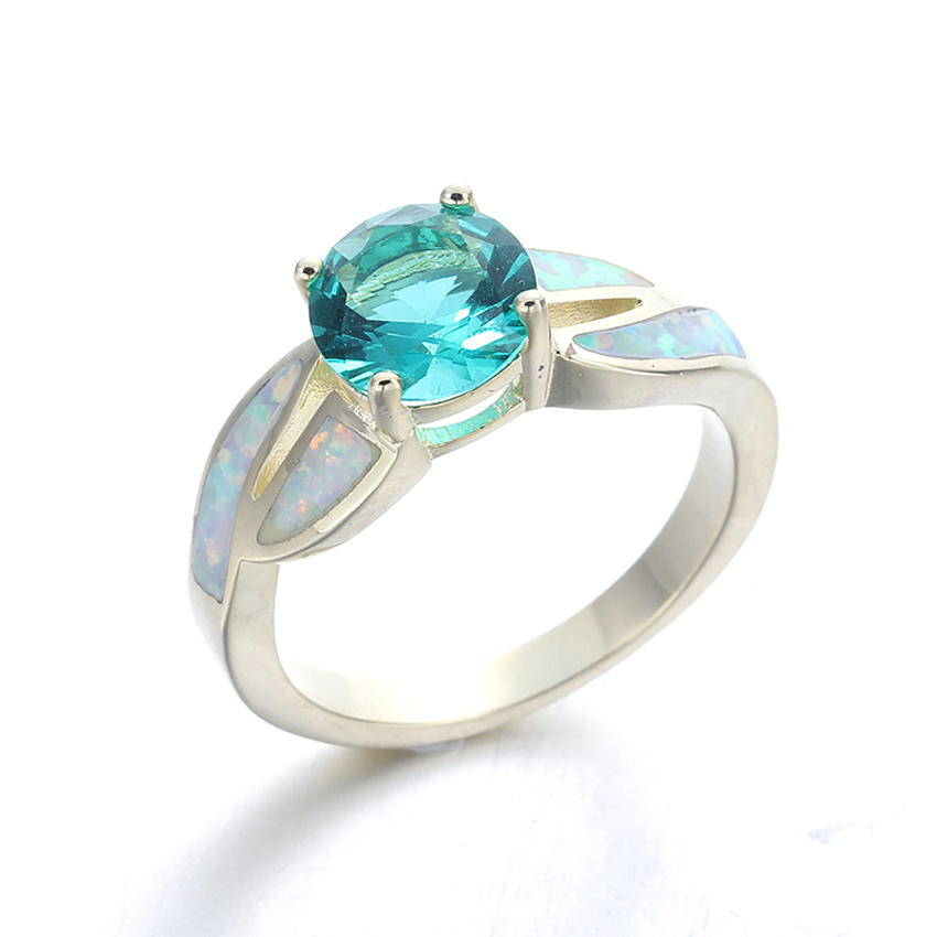 Stylish Women Blue Opal Jewelry Charming 925 Sterling Silver Ring Hotsale 103548