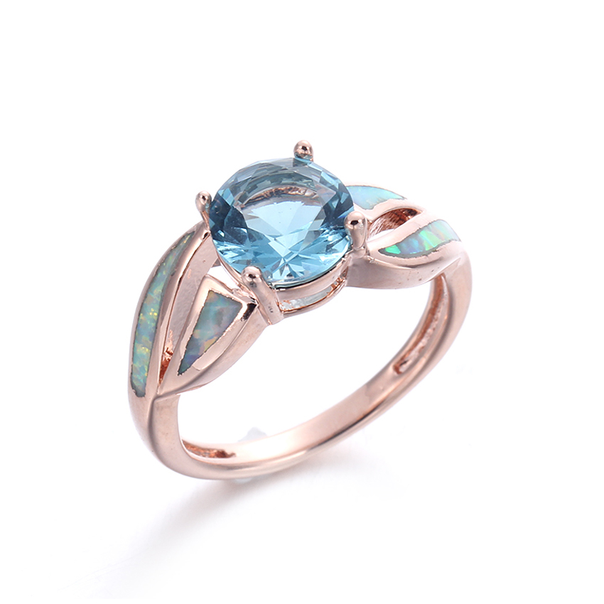 Kirin Jewelry -925 Sterling Silver Cz Rings Manufacture | Stylish Women Blue Opal