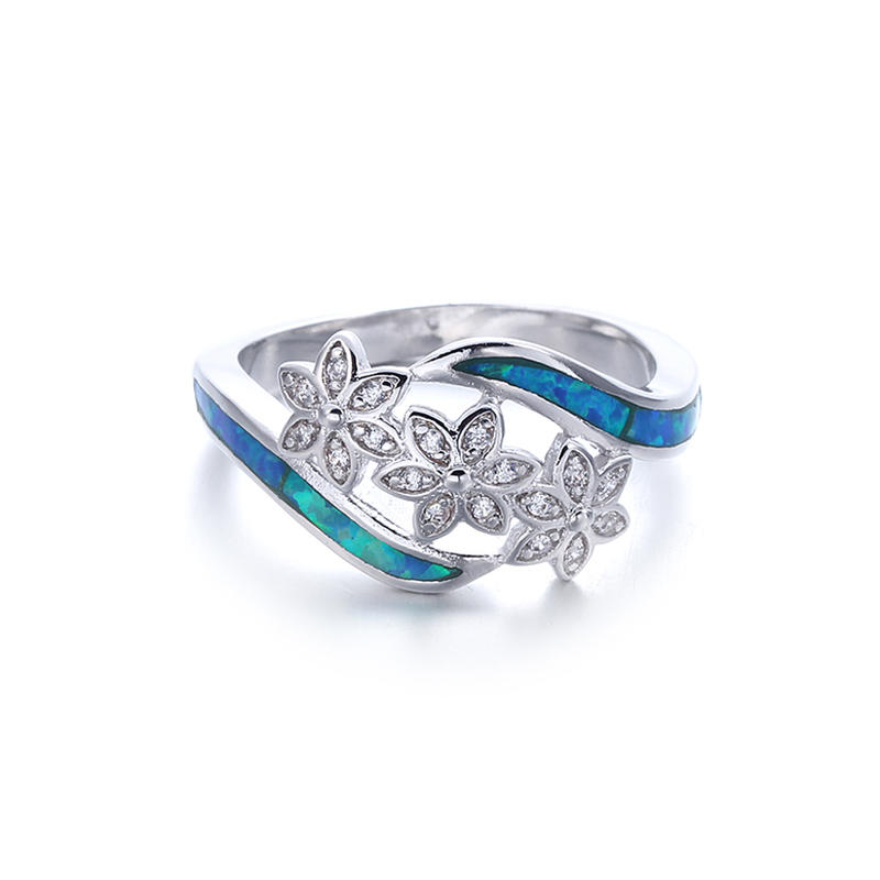 European Women 925 Sterling Silver Blue Opal Wedding Rings Jewelry 103549