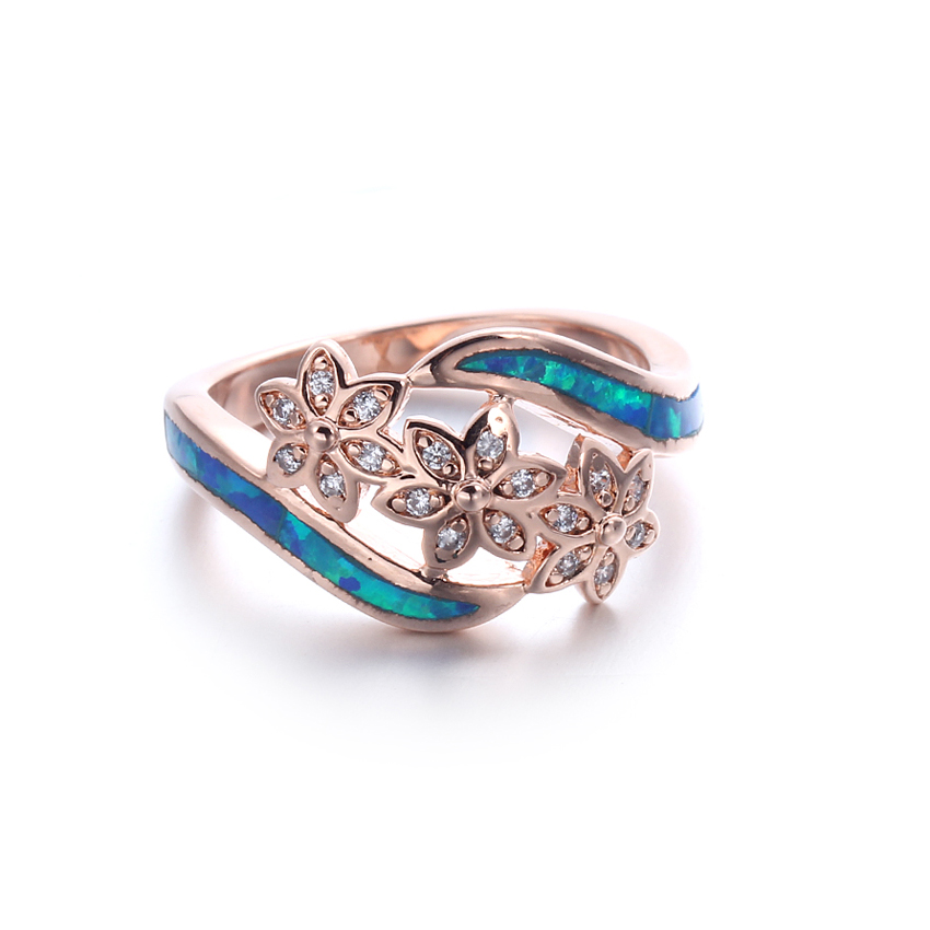 Kirin Jewelry -European Women 925 Sterling Silver Blue Opal Wedding Rings