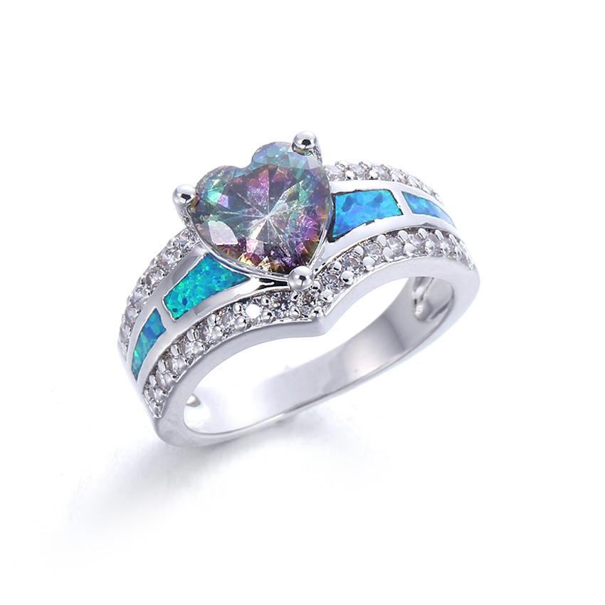 Women Fashion Heart Shape 925 Sterling Silver Blue Opal Rings Wedding party Jewelry 103551
