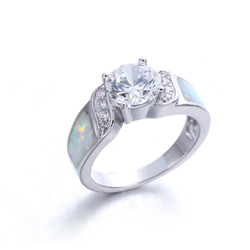 Women 925 Sterling Silver Round cut Cubic Zirconia White Opal Rings Wedding Jewelry 103552