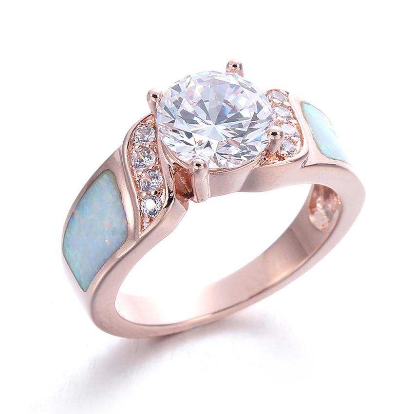 Women 925 Sterling Silver Round cut Cubic Zirconia White Opal Rings Wedding Jewelry 103552