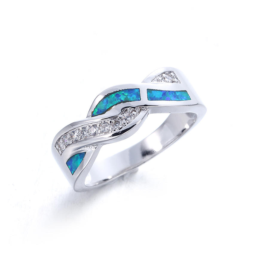 Women Fashion Blue Opal 925 Sterling Silver Engagement Wedding Rings Jewelry 103557