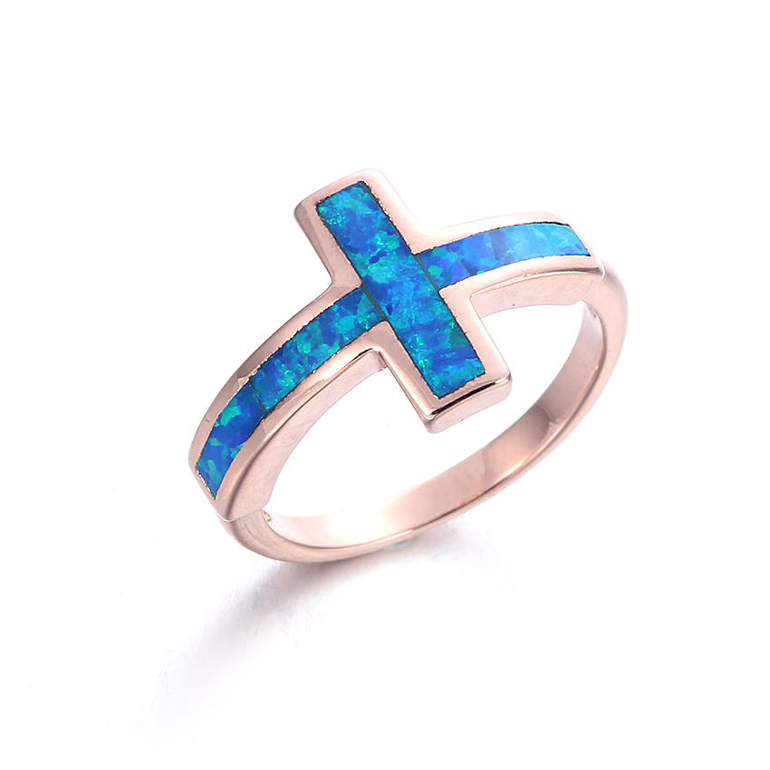 Unique 925 Sterling Silver Rectangle Blue Opal Rings for Women Vintage Fashion Jewelry  103558