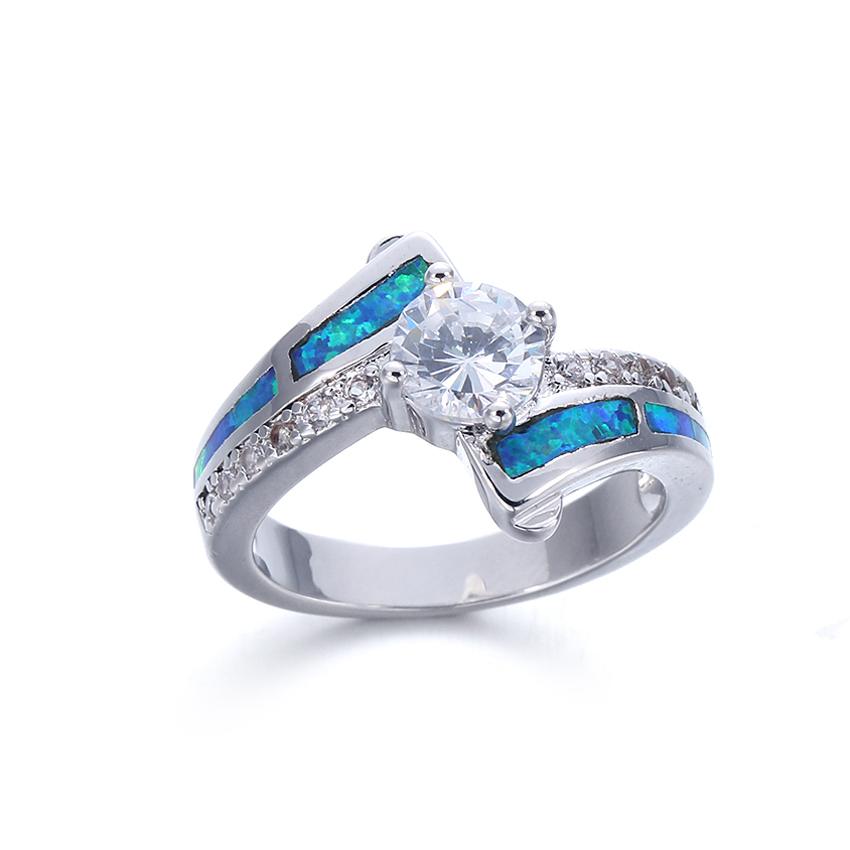 Kirin Jewelry -Silver Heart Ring | Women Ladies Blue Opal 925 Sterling Silver