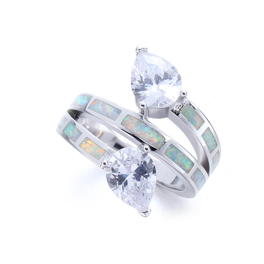 Women White Opal 925 Sterling Silver Wedding Engagement Promise Ring Jewelry 103567